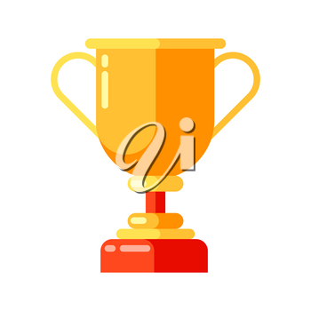 Icon of gold cup in flat style. Illustration isolated on white background.