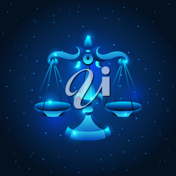 Libra zodiac sign, blue star horoscope symbol. Stylized astrological illustration.