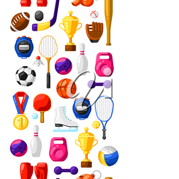 Seamless pattern with sport icons. Stylized athletic equipment illustration.