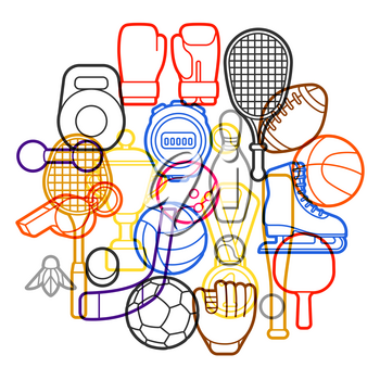 Background with sport icons. Stylized athletic equipment illustration.