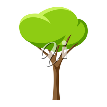 Spring or summer stylized tree with green leaves. Natural illustration