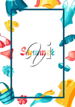 Background with beachwear and swimwear. Summer clothes and accessories. Seasonal sale or fashion illustration for advertising.