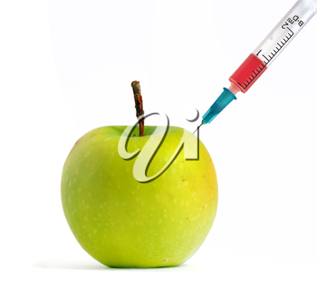 GMO green apple. Isolated object.