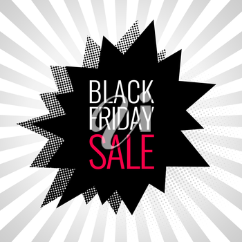 Black Friday sale banner. Comic bubbles with halftone shadows. Vector illustration.