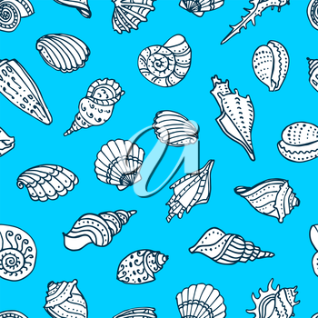 Seamless pattern with doodle seashells. Hand drawn vector illustration.