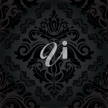 Damask vector floral pattern with arabesque and oriental black elements. Fine seamless abstract traditional ornament for wallpaper and background