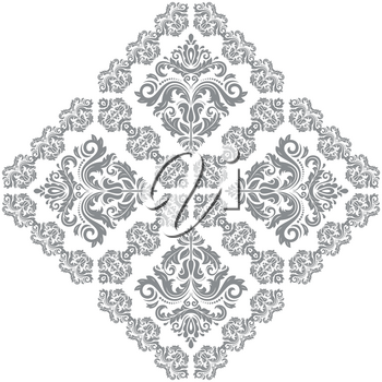 Oriental vector silver square pattern with arabesques and floral elements. Traditional classic ornament. Vintage pattern with arabesques