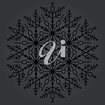 Round vector dark snowflake. Abstract winter ornament. Fine snowflake