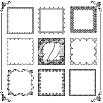 Vintage set of vector elements. Different square elements for decoration and design frames, cards, menus, backgrounds and monograms. Classic black patterns. Set of vintage patterns