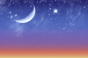 Beautiful twilight and starry sky with the moon