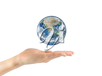 Concept of tourism, religion and ecology. Planet earth in the hands isolated on white background. NASA