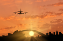Silhouette of Sydney and the plane coming in to land. tourism and recreation concept