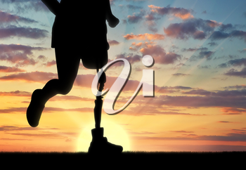 Concept of disability. Man with prosthetic leg running