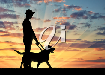 Silhouette of a blind disabled man holding a dog guide against a sunset background. The concept of assistance to blind people with disabilities
