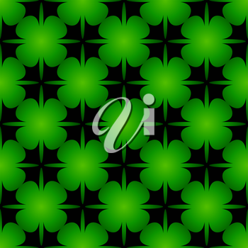 The beautiful seamless bright green background with stylized clover leaves.