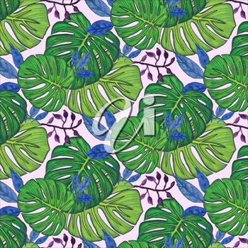 Seamless background. Watercolor monstera leaves, drawn with colored pencils. Design for card, poster or wallpaper.