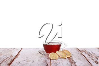 Cup tea with mint and lemon isolated on a white background