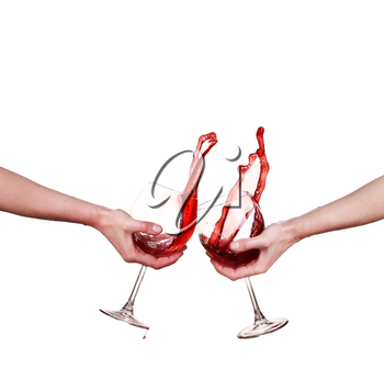 collage Red wine splashing from glass, isolated on white background