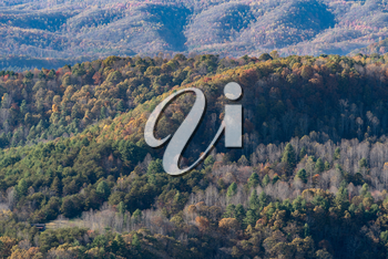 Fall and autumn colors of appalachian hills from Pipestem Resort State Park in West Virginia