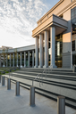 Sign and entrance steps to modern building housing the Colorado Supreme Court and Court of Appeals in Denver CO