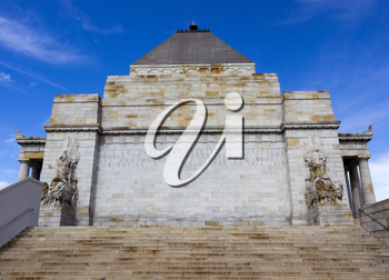 The Shrine of Remembrance is memorial to World War One veterans in Melbourne Australia