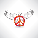 Peace symbol. Dove with pacifism sign isolated. International peace day emblem.