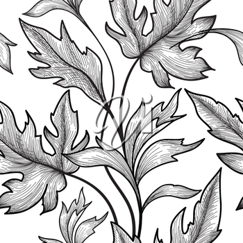 Floral seamless pattern. Flower and leaves background. Floral seamless texture with leaf. Flourish tiled wallpaper