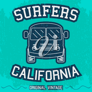 T-shirt print design. Vintage surfing bus poster. Vector illustration.