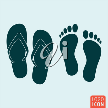 Beach slippers icon. Footprint icon. Vector illustration