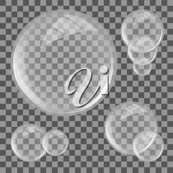 Glass lens on transparent background. Sphere with glares. Vector illustration.