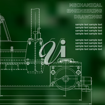 Mechanical engineering drawings on a black background. Vector. For inscriptions. Green