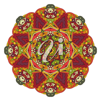 Mandala. Oriental pattern. Traditional round ornament. Turkey, Egypt, Islam. Relaxing picture. Red and orange tone