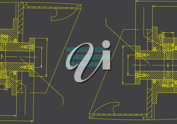 Mechanical engineering. Technical illustration. Backgrounds of engineering subjects. Gray