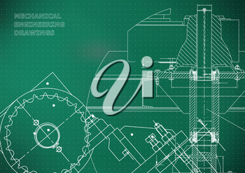 Blueprints. Mechanical drawings. Engineering illustrations. Technical Design. Banner. Light green background. Points