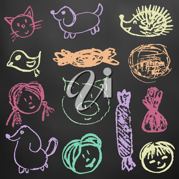 Children's drawings. Elements for the design of postcards, backgrounds, packaging. Color chalk on a blackboard. Persons, children, pig, hedgehog, hare, sweets