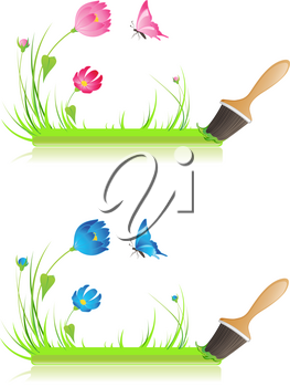 green banner with paintbrush, grass, butterfly and flowers