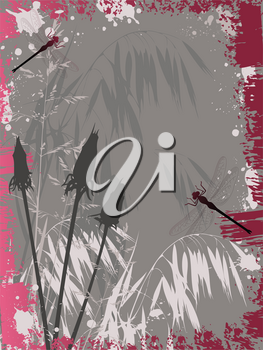 Background with flowers,dragonfly and grunge effect