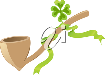 Saint Patrick's Day background with tobacco pipe and four leaf clover