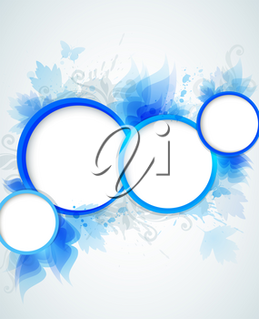 Vector blue abstract background with circles and leaves