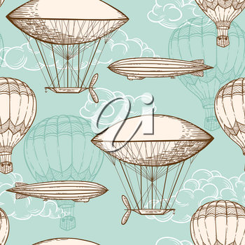Hand drawn vintage vector seamless pattern with air balloons flying in the sky
