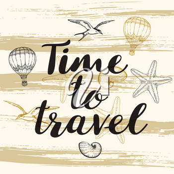 Abstract travel background with lettering Time to travel