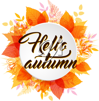 Abstract autumn banner with orange and yellow falling leaves. Hello autumn lettering.