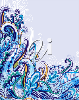 Abstract vector background with blue watercolor texture. Hand drawn illustration.