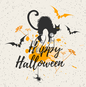 Halloween background with black cat. Happy Halloween lettering. Vector illustration.