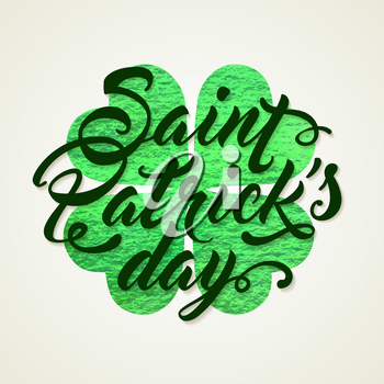 Abstract Green background with clover leaf and lettering for St. Patrick's Day