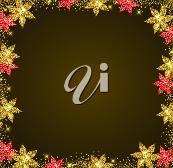 Decorative glitter holiday frame with golden and red flowers. Shining Christmas background.
