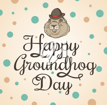Card for Groundhog Day with marmot and greeting inscription