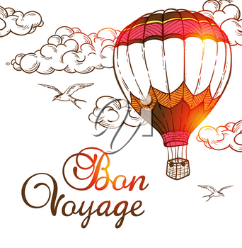 Travel background with air balloon and cloud. Hand drawn vector illustration.