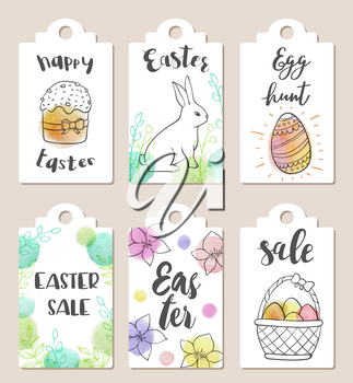 Set of hand drawn Easter tags for holiday sale with watercolor textures
