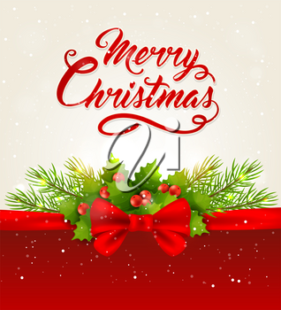 Vector Christmas background with red bow, fir branch and greeting inscription. Merry Christmas lettering